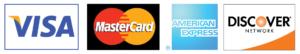 We accept Visa, Mastercard, American Expres, Discover Card